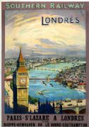 London-Paris, St Lazare. Southern Railway Vintage Travel Poster